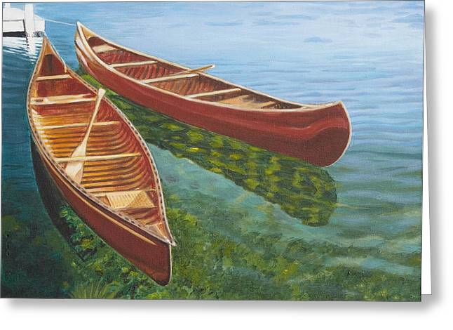 Canoe Paintings Greeting Cards - Two Canoes Greeting Card by Liz Zahara