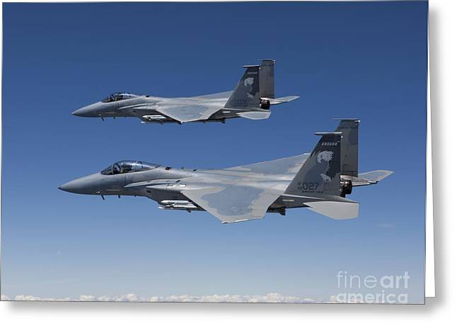 Two F-15 Eagles Conduct Air-to-air Greeting Card by HIGH-G Productions