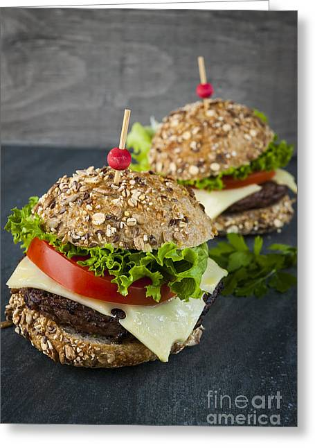 Bun Photographs Greeting Cards - Two gourmet hamburgers Greeting Card by Elena Elisseeva