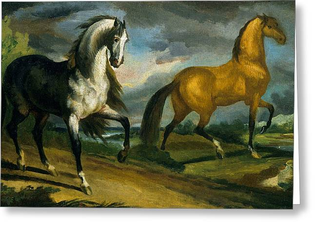 Two Horses Greeting Card by Theodore Gericault