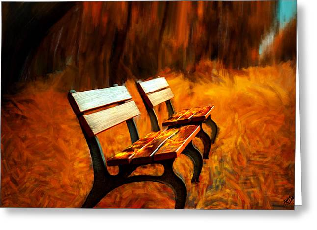 Fall Trees Greeting Cards - Two Park Benches Greeting Card by Bruce Nutting