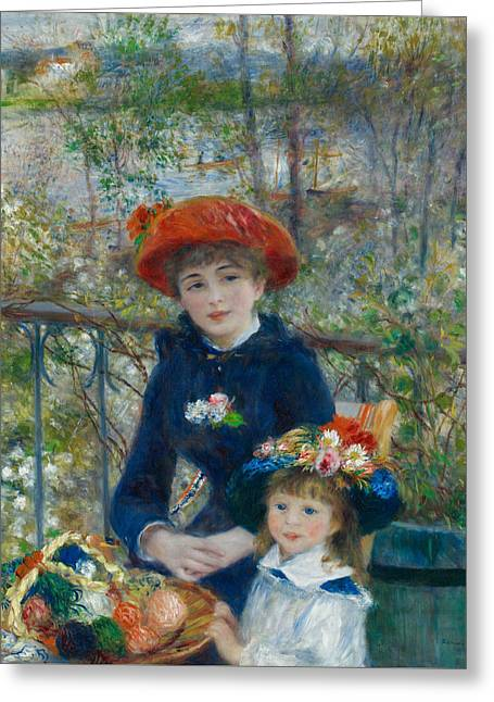 Renoir Greeting Cards - Two Sisters On the Terrace Greeting Card by Auguste Renoir