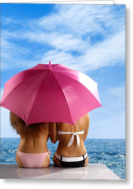 Swimwear Greeting Cards - Two Women Relaxing on a Shore Greeting Card by Oleksiy Maksymenko