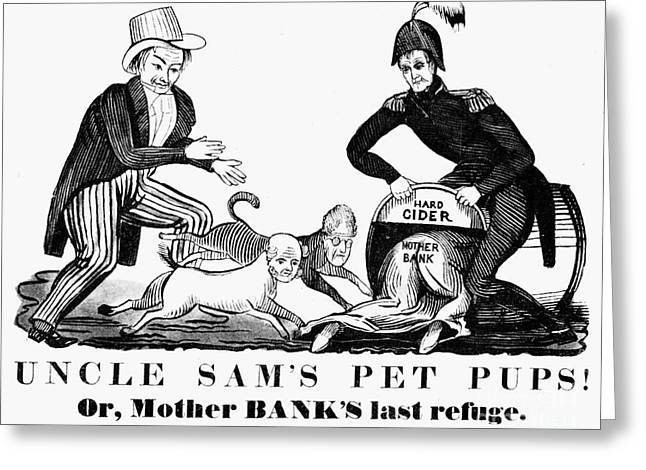 Uncle Sam Cartoon, 1840 Greeting Card by Granger