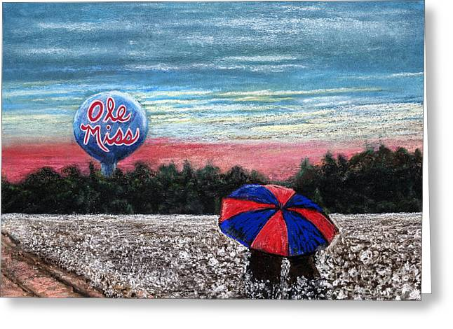 Sec Greeting Cards - Under the Ole Miss Umbrella Greeting Card by Janice Bays