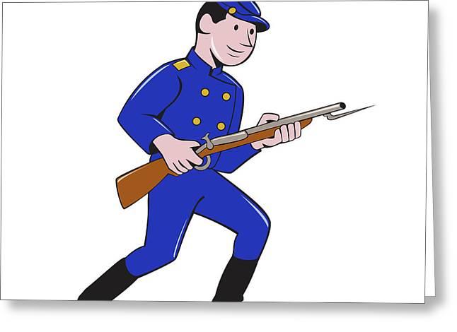 Union Army Soldier Bayonet Rifle Cartoon Greeting Card by Aloysius Patrimonio