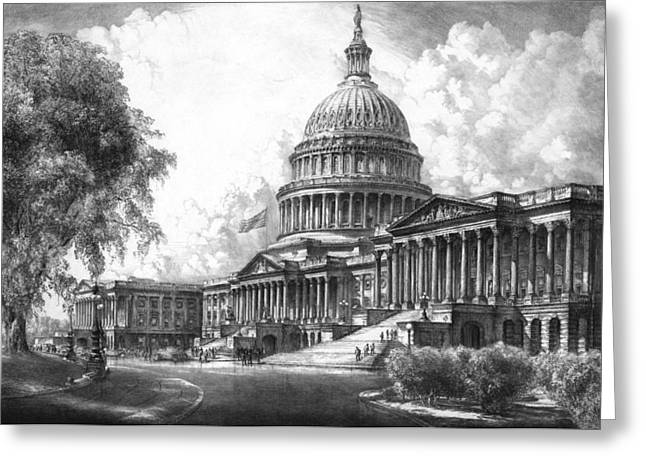 Us Capitol Greeting Cards - United States Capitol Building Greeting Card by War Is Hell Store