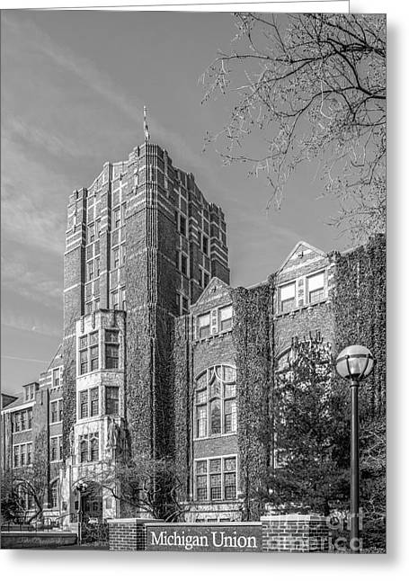 Small Towns Greeting Cards - University of Michigan Union Greeting Card by University Icons