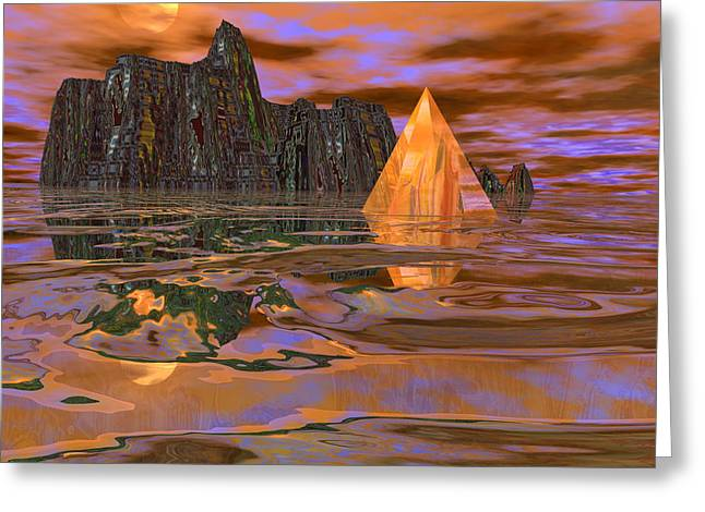 Visionary Artist Greeting Cards - Untitled 3D Landscape Greeting Card by Bob  Eige
