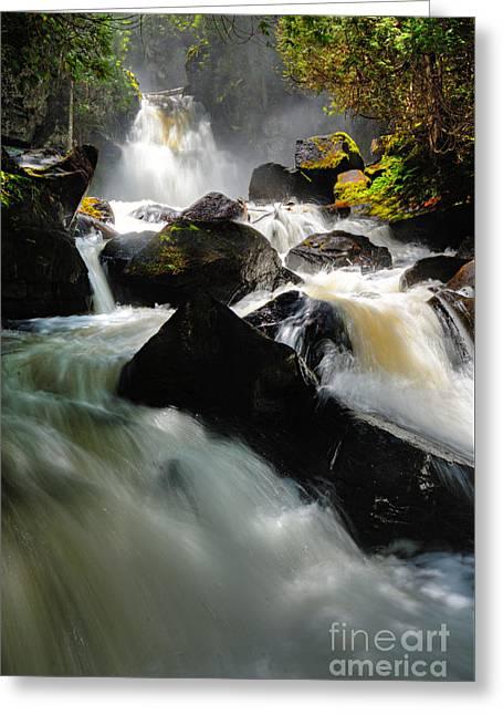 Upper Johnson Falls Greeting Card by Larry Ricker