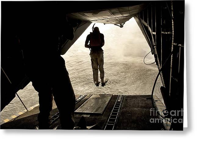 U.s. Air Force Pararescuemen Jump Greeting Card by Stocktrek Images