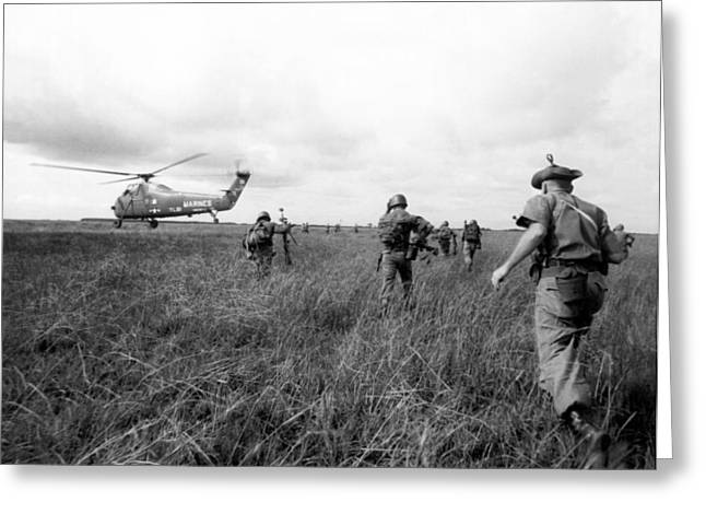 U.s. Army Advisors In Vietnam Greeting Card by Underwood Archives