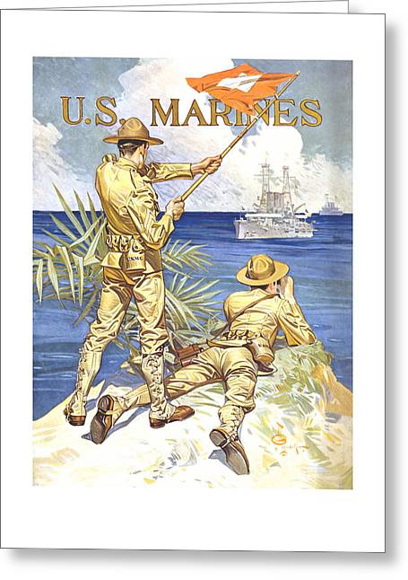 Historic Ship Greeting Cards - US Marines - WW1 Greeting Card by War Is Hell Store