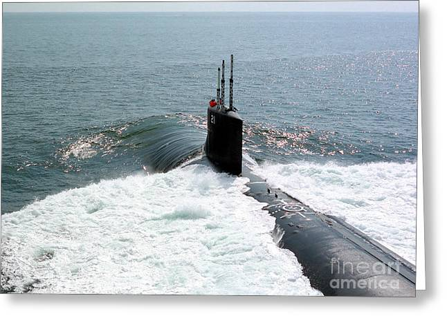 Trial Greeting Cards - U.s. Navy Attack Submarine Uss Seawolf Greeting Card by Stocktrek Images
