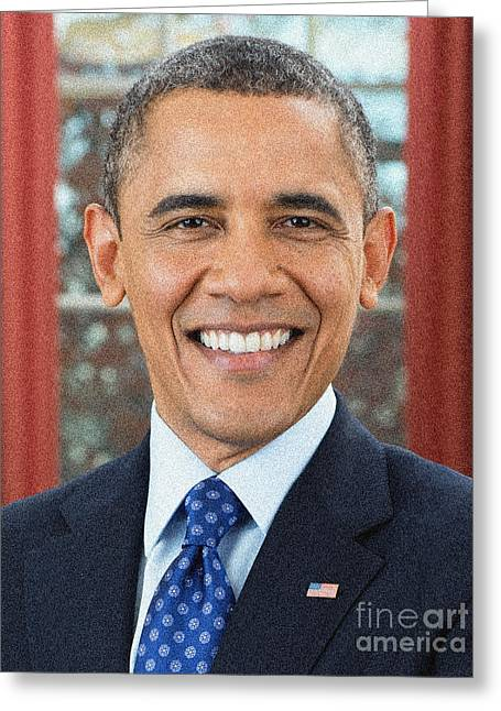 U S Presidents Greeting Cards - U.S. President Barack Obama Greeting Card by Celestial Images