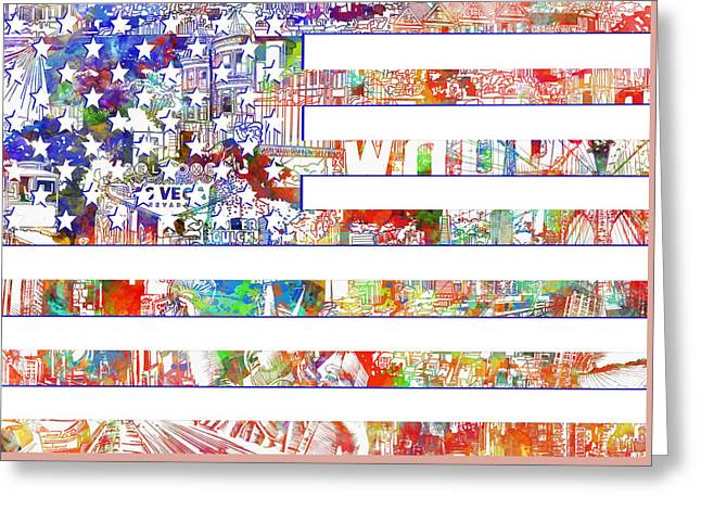 Flag Of Usa Greeting Cards - Usa flag 13 Greeting Card by MB Art factory