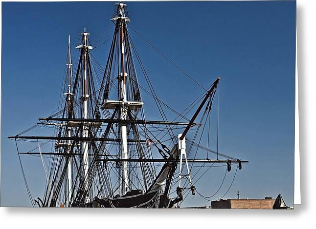 Historic Ship Greeting Cards - Uss Constitution Bos106 Greeting Card by Howard Stapleton
