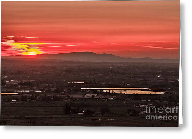 Valley Sunset Greeting Card by Robert Bales