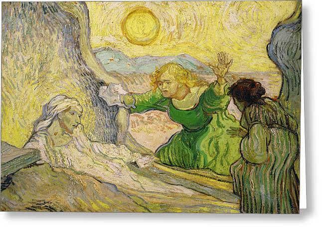 St Lazarus Greeting Cards - Van Gogh Raising of Lazarus after Rembrandt Greeting Card by Vincent van Gogh
