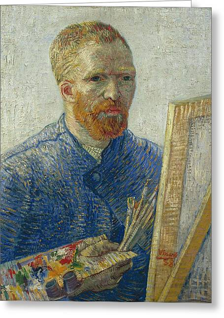 Spiritual Portrait Of Woman Paintings Greeting Cards - Van Gogh Self Portrait in Front of Easel Greeting Card by Vincent van Gogh