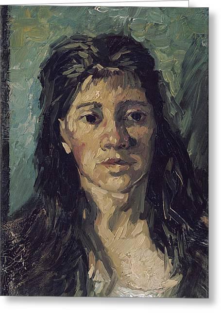 Loose Hair Greeting Cards - Van Gogh Woman with Hair Loose Greeting Card by Vincent van Gogh