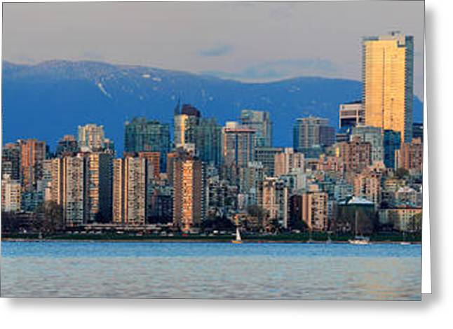 Vancouver Greeting Cards - Vancouver City Twilight Panorama Greeting Card by Pierre Leclerc Photography
