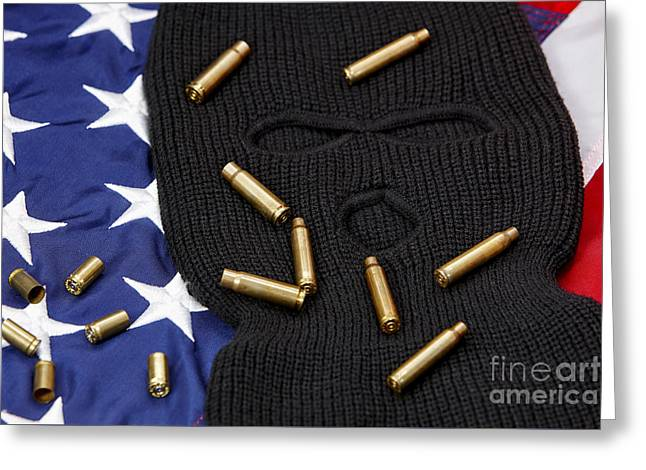 Various Empty Shell Casings Lying On Balaclava And United States Of America Flag Greeting Card by Joe Fox