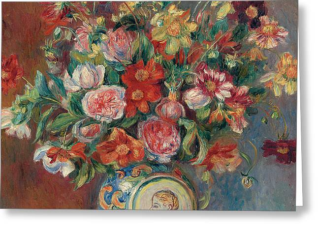 Still-life With Flowers Greeting Cards - Vase with Flowers Greeting Card by Pierre Auguste Renoir