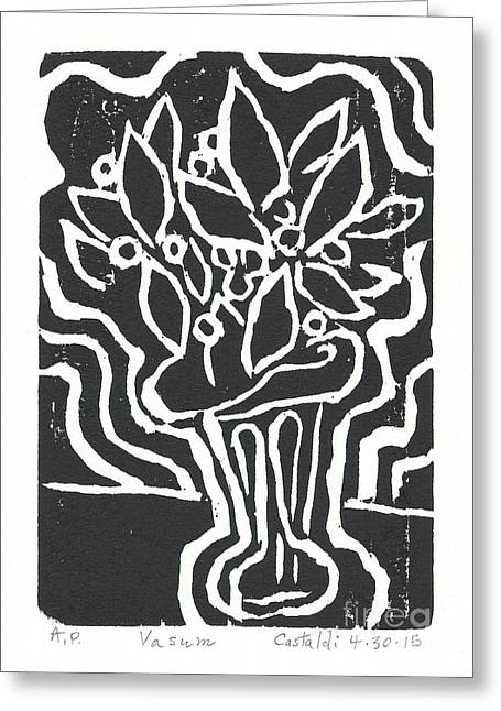Printmaking Greeting Cards - Vasum White Greeting Card by Phillip Castaldi