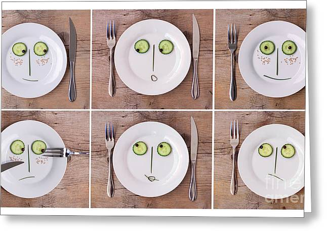 Lifestyle Photographs Greeting Cards - Vegetable Faces Greeting Card by Nailia Schwarz