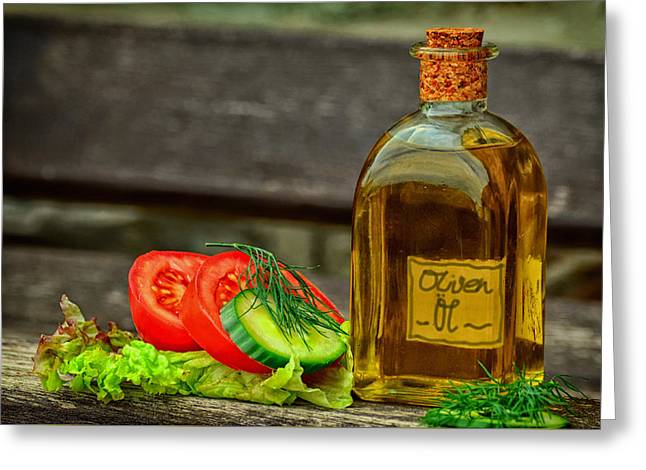 Olive Oil Greeting Cards - Vegetables And Olive Oil Greeting Card by Condesign