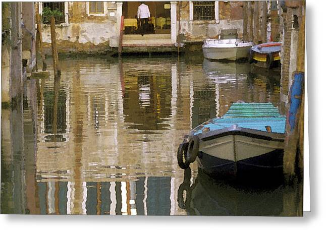 Venice Restaurant on a Canal  Greeting Card by Gordon Wood