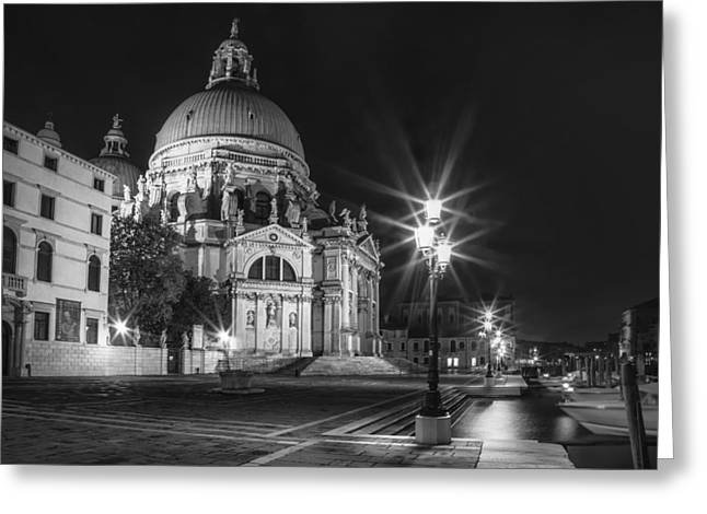 Night Lamp Greeting Cards - VENICE Santa Maria della Salute black and white Greeting Card by Melanie Viola