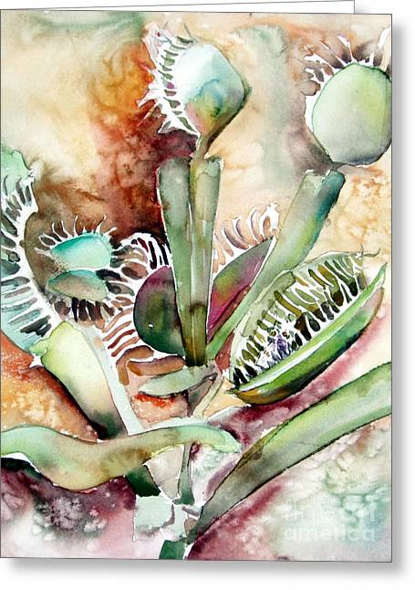 Pitcher Drawings Greeting Cards - Venus Fly Trap Greeting Card by Mindy Newman
