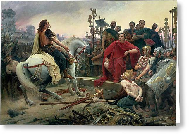 Vercingetorix Throws Down His Arms At The Feet Of Julius Caesar Greeting Card by Lionel-Noel Royer