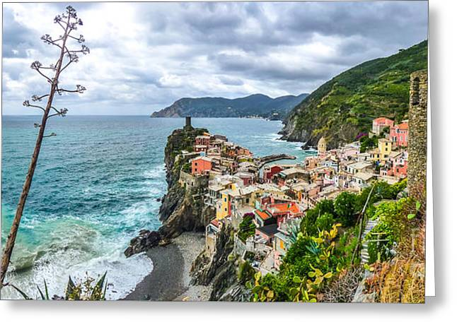 Ocean Panorama Greeting Cards - Vernazza, Cinque Terre, Liguria, Italy Greeting Card by JR Photography