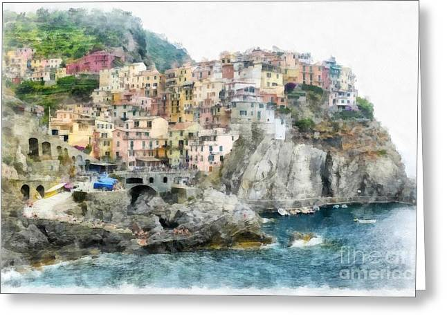 Old Town Digital Greeting Cards - Vernazza Italy In The Cinque Terra Greeting Card by Edward Fielding