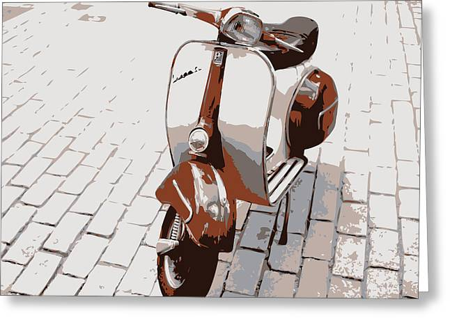 Cobbled Greeting Cards - Vespa Scooter Pop Art Greeting Card by Michael Tompsett