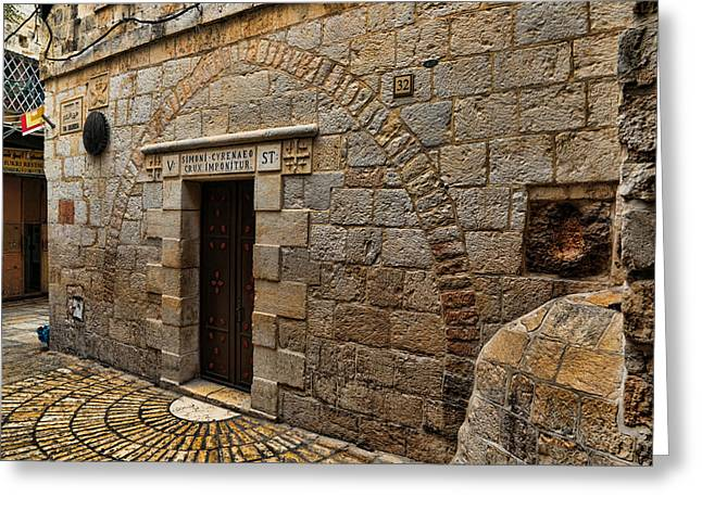 Pilate Greeting Cards - Via Dolorosa Station V Greeting Card by Stephen Stookey