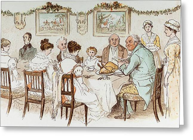 Victorian Christmas Card Greeting Card by English School