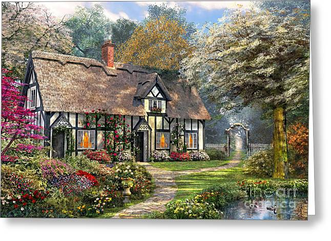 Victorian Garden Home Greeting Card by Dominic Davison