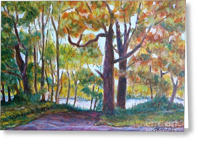 Egg Tempera Paintings Greeting Cards - View from My Driveway Greeting Card by Jan Bennicoff