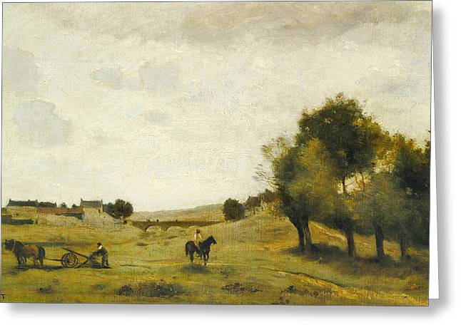 View Near Epernon Greeting Card by Jean-Baptiste-Camille Corot