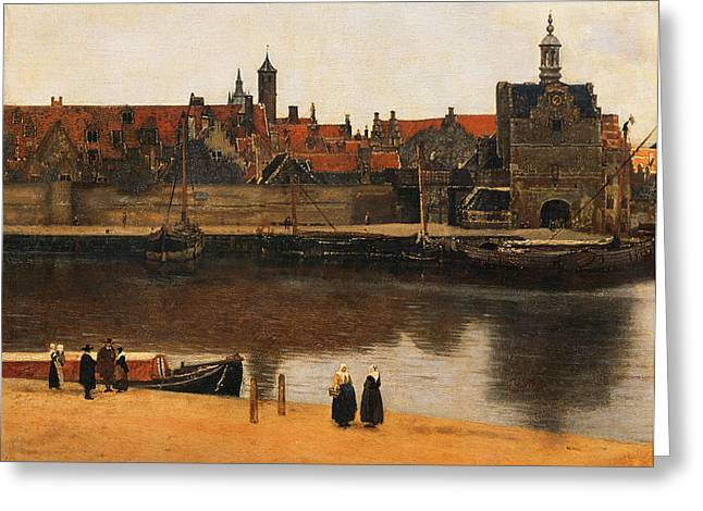 Barge Greeting Cards - View of Delft Greeting Card by Jan Vermeer