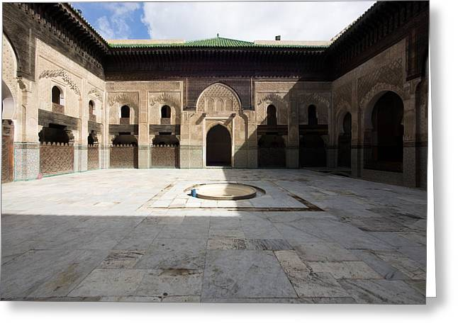 Moroccan Courtyard Greeting Cards - View Of Part Of Cloister And Courtyard Greeting Card by Panoramic Images
