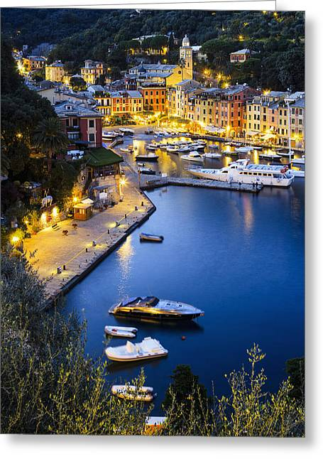 Buildings In The Harbor Greeting Cards - View Of The Harbour At Dusk  Portofino Greeting Card by Yves Marcoux
