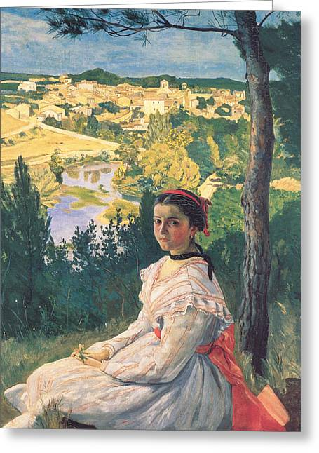 View Of The Village Greeting Card by Frederic Bazille