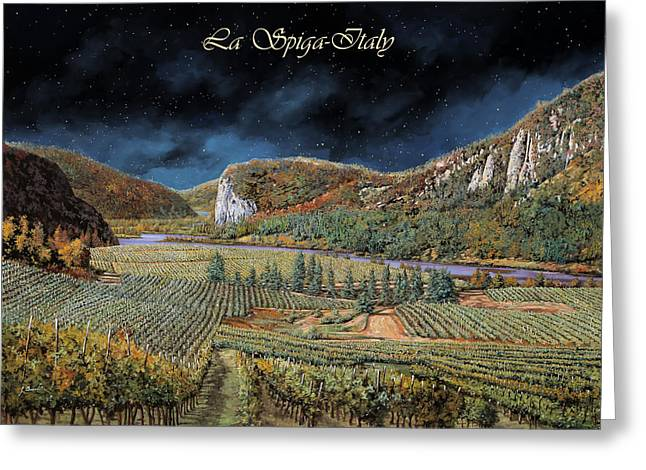 Vineyards Greeting Cards - Vigne Nella Notte Greeting Card by Guido Borelli