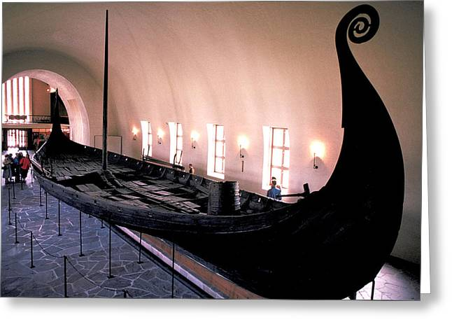 Wooden Ship Greeting Cards - Viking Ship in Oslo Museum Greeting Card by Carl Purcell