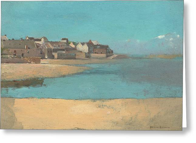 Village By The Sea Greeting Cards - Village by the Sea in Brittany Greeting Card by Odilon Redon